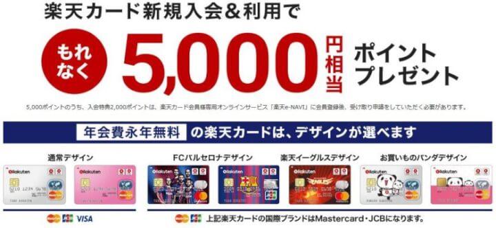 楽天カード入会で5000ポイントプレゼント