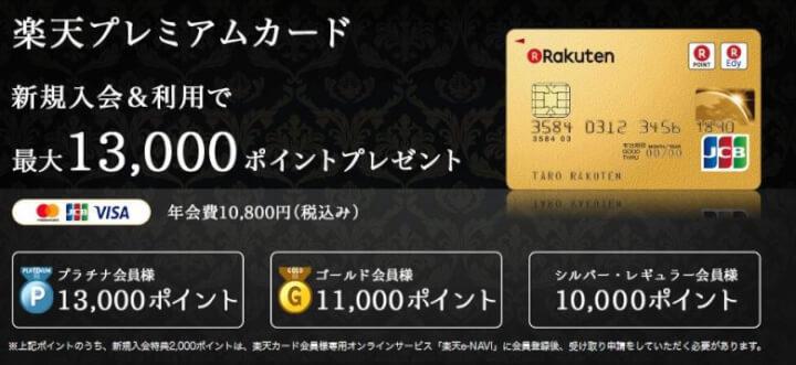 楽天プレミアムカード入会で13000ポイントプレゼント